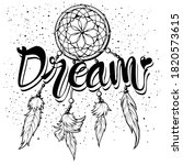 lettering 'dream' and boho art... | Shutterstock .eps vector #1820573615