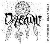 lettering 'dream' and boho art... | Shutterstock .eps vector #1820573615