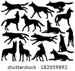 set of illustrated silhouettes...   Shutterstock . vector #182059892
