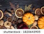 Autumn Background With Dried...