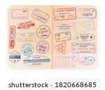 stamp in passport for traveling ... | Shutterstock .eps vector #1820668685