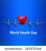 beautiful heart beats world... | Shutterstock .eps vector #182070266