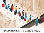 people with suitcases standing...   Shutterstock .eps vector #1820717522