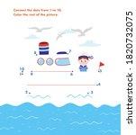 dot to dot. the ship. activity... | Shutterstock . vector #1820732075