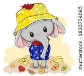 cute cartoon elephant with hat...   Shutterstock .eps vector #1820736065