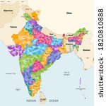 map of india with neighbouring...   Shutterstock .eps vector #1820810888