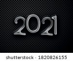 black foil balloon 2021 sign on ... | Shutterstock .eps vector #1820826155