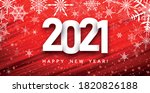 2021 sign on red brushstroke... | Shutterstock .eps vector #1820826188