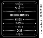 retro divider set on blackboard ... | Shutterstock . vector #182082782