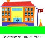 elementary school building with ...   Shutterstock .eps vector #1820829848