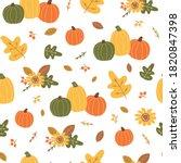 autumn harvest pattern. orange... | Shutterstock .eps vector #1820847398