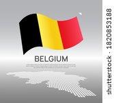 belgium wavy flag and mosaic...   Shutterstock .eps vector #1820853188