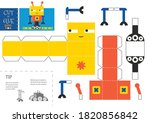 cut and glue robot toy vector...   Shutterstock .eps vector #1820856842