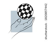 hand of a man holding the globe ...   Shutterstock .eps vector #1820857442