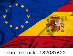 waving flag of spain and eu | Shutterstock . vector #182089622