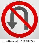 no u turn sign | Shutterstock . vector #182100275