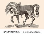 Galloping Horse With Harness...