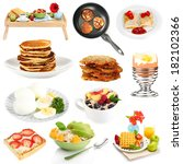 breakfast collage isolated on... | Shutterstock . vector #182102366