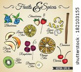 Fruits And Spices Drawings Set...