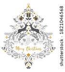 floral vintage ornate element.... | Shutterstock .eps vector #1821046568