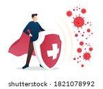 immune system vector icon logo. ... | Shutterstock .eps vector #1821078992