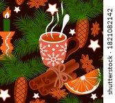 Seamless Pattern Of Hot Tea...