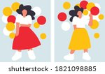 diverse woman in dress holding... | Shutterstock .eps vector #1821098885