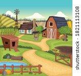 cartoon colorful farm with barn ... | Shutterstock .eps vector #1821113108