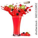 red berry juice splash. whole... | Shutterstock .eps vector #1821122852