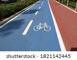 Blue Bike Path And Red Walking ...