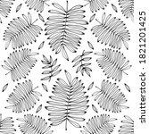 leaf seamless pattern white... | Shutterstock . vector #1821201425