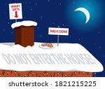 rooftop of a house in christmas ... | Shutterstock .eps vector #1821215225