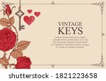 Banner With Vintage Key  Red...