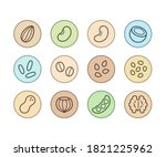 plant based milk icons in color ... | Shutterstock . vector #1821225962