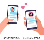 couple in love texting. male... | Shutterstock . vector #1821225965
