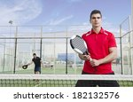 paddle tennis players ready for ... | Shutterstock . vector #182132576