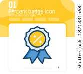 percent badge premiun icon with ...