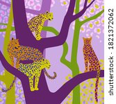 leopards sit on tree branches.... | Shutterstock .eps vector #1821372062