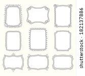 vector set of doodle frames and ...   Shutterstock .eps vector #182137886