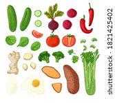 big set of vegetable  berries ... | Shutterstock .eps vector #1821425402