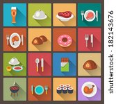 vector set of grill and sweets... | Shutterstock .eps vector #182143676