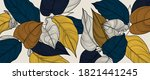 luxury gold floral line art... | Shutterstock .eps vector #1821441245