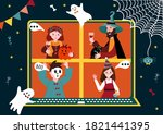 halloween online party. virtual ... | Shutterstock .eps vector #1821441395