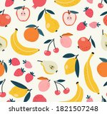 seamless pattern of fruits... | Shutterstock .eps vector #1821507248