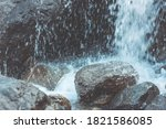 water falls on stones and... | Shutterstock . vector #1821586085