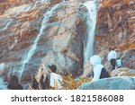 a group of tourists in warm... | Shutterstock . vector #1821586088