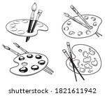 set of art palettes with paints.... | Shutterstock .eps vector #1821611942