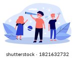 happy children playing and... | Shutterstock .eps vector #1821632732