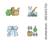 sauna culture rgb color icons...   Shutterstock .eps vector #1821651722