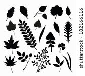 set of leaf silhouettes  | Shutterstock . vector #182166116